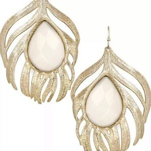 GOLD AND WHITE ELENA FEATHER EARRINGS